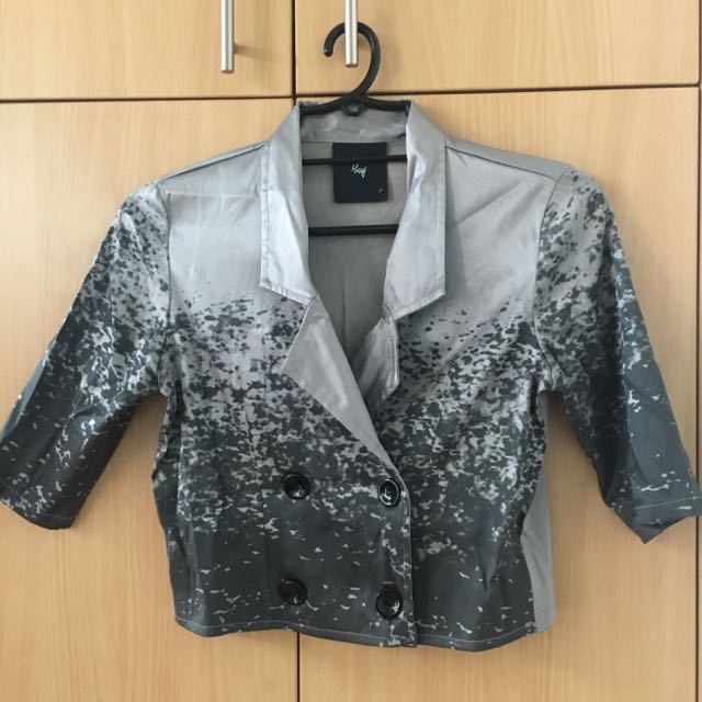 Silver Cropped Top Blazer (Small)