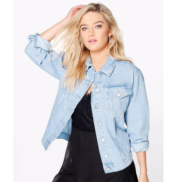 Stone Wash Oversize Boyfriend Denim Jacket size 10