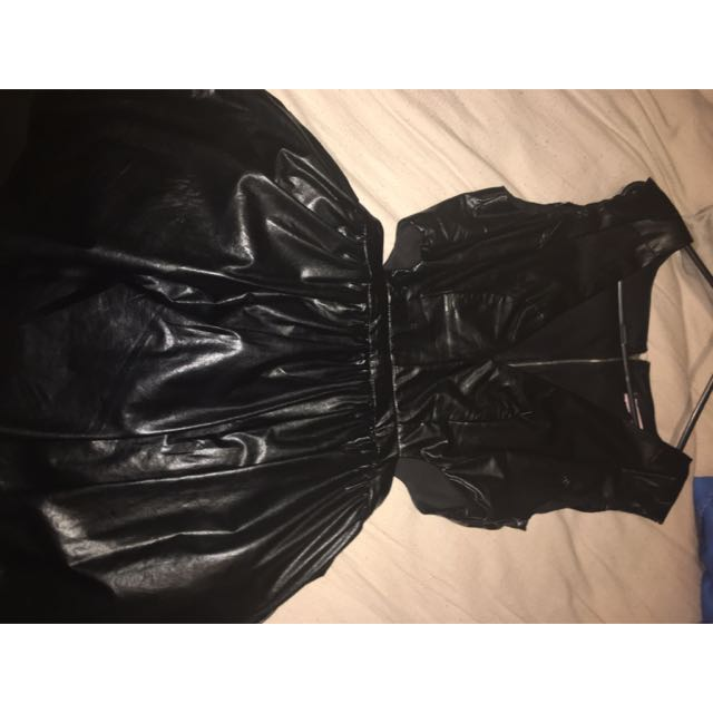 Supre Cut Out Dress Fake Leather Wet Look