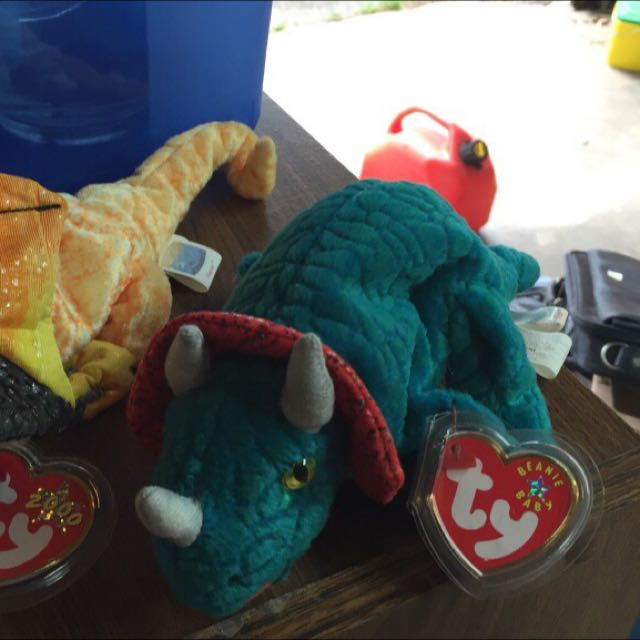Ty Beanie Babies Triceratops And Lizard