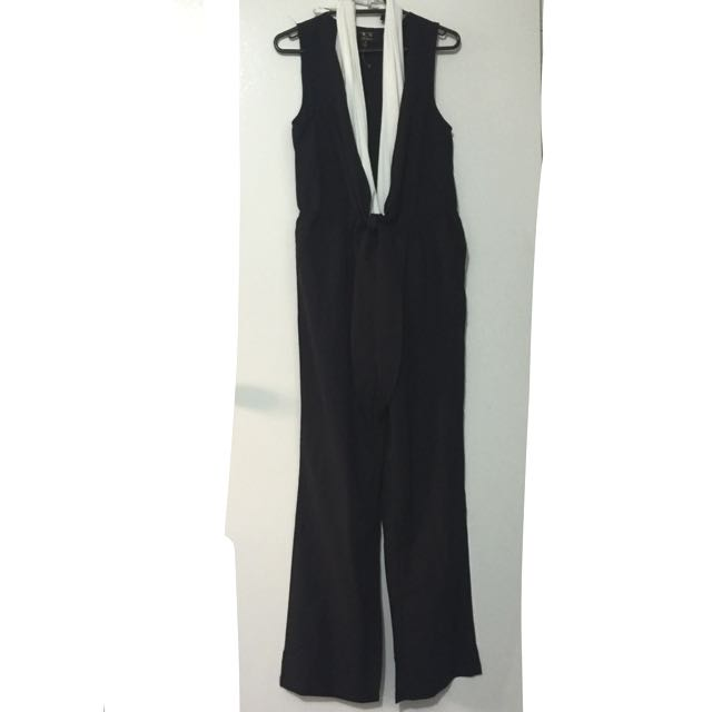 V Plunge Long Jumpsuit Playsuit