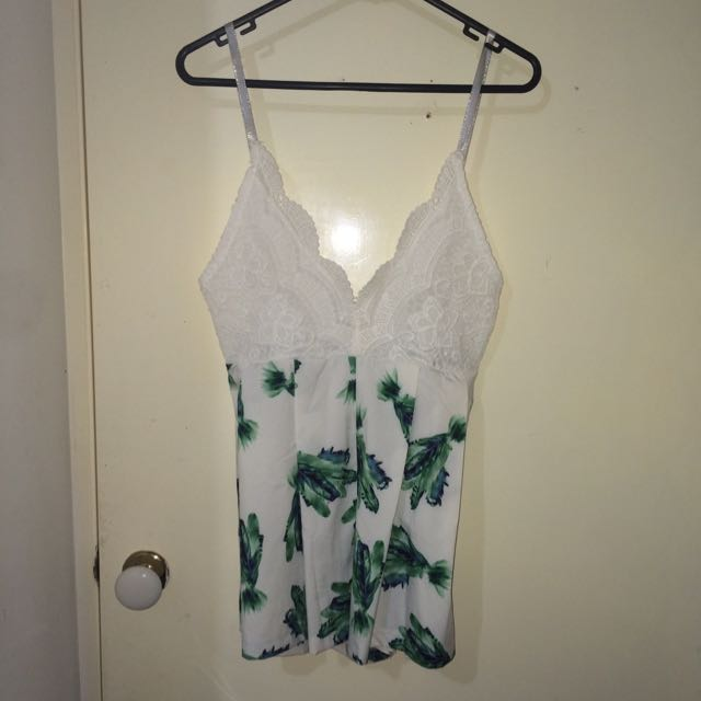 White And Green Playsuit