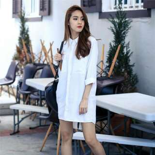 ACW Button Down Slit Shirt Dress in White