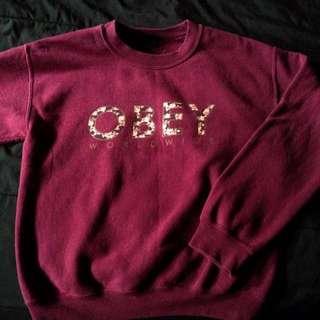 Burgundy OBEY sweatshirt