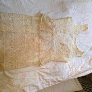 Off-white Lace Peplum Dress