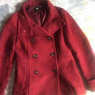 H&M Burgundy Coat Size 8