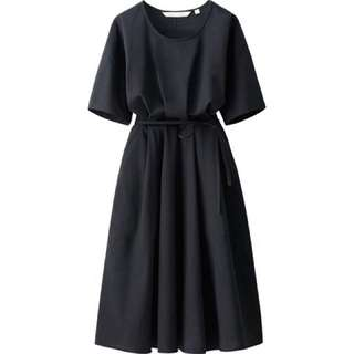 Uniqlo x Lemaire Seersucker Dress in BLACK