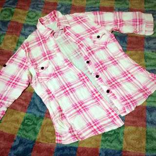 Pink Checkered Polo Blouse