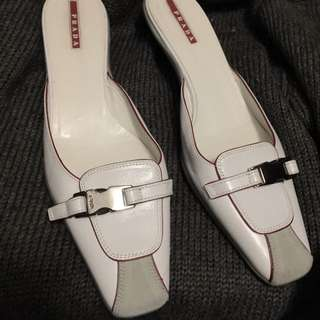 Authentic PRADA Leather Kitten Heels Sz 7.5 / 8