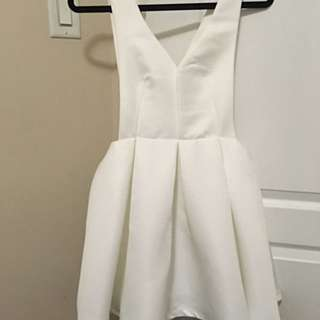 White Cocktail Dress Low-V Front