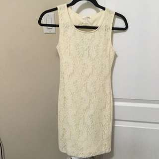 White Lace Body-con Dress With Circle Cut Out And bow Detail