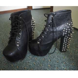 Fake Black Jeffrey Campbell Faux Leather Spiked Ankle Boots - SIZE 6