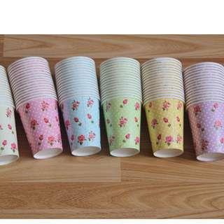 大容量碎花紙杯 英式下午茶茶杯歐式婚禮派對野餐Candy bar 餐具免洗杯