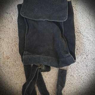 Black Suede Mini Backpack