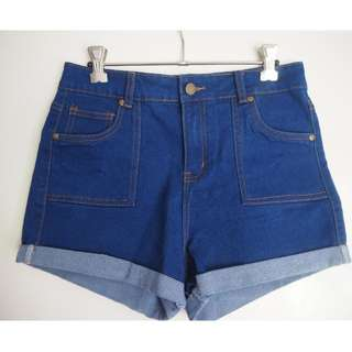 Dark Denim High Wasted Shorts SIZE 8