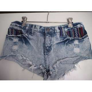 Light Washed out Denim Shorts with Hippie Boho Patch