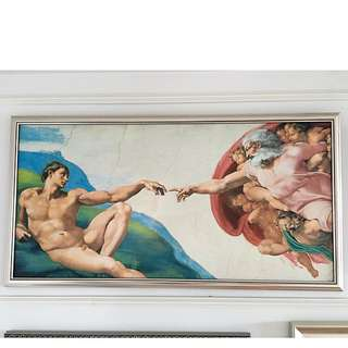 Classic Art Print With Frame Creation Of Adam ( Classical Victorian Vatican Italy Church Art)