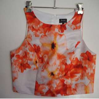 Bardot Crop Top Orange Floral - SIZE 8