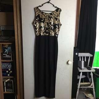 Jasmine Sequin Top Front Split Maxi Dress