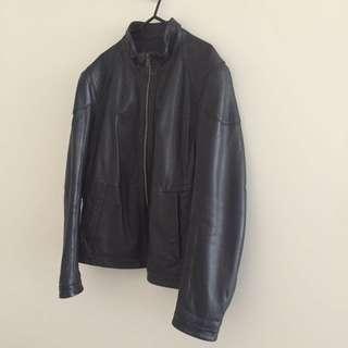 Hugo Boss Dark Navy Leather Men's Jacket 42R