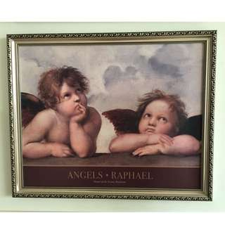 Art Classical Angels Picture With Frame ( Classic Victorian Art Vatican Italy )