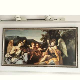 Classic High Quality Angels Picture With Frame ( Art Classical Vintage Italy Victorian Vatican Home )