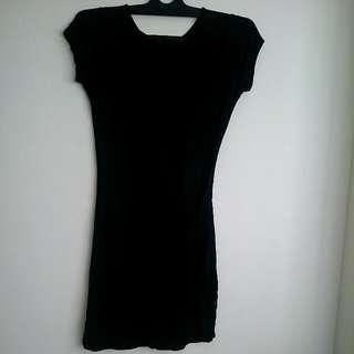 Dress Hitam Bahan Kaos Stretch