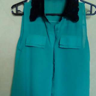 blue green blouse