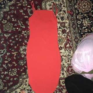 Red Spaghetti Straps Knee Length Dress