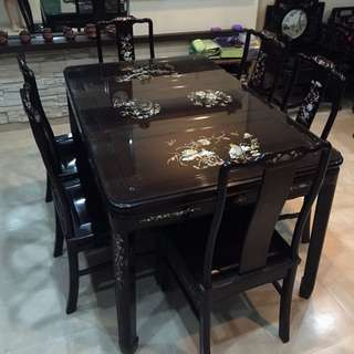 1 Set of Antique Table (x1) with Antique Chairs (x6)