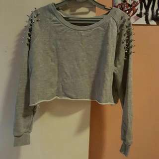 Grey Sleeved Studded Cropped Top
