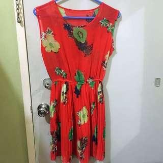 FLORAL TANGERINE DRESS