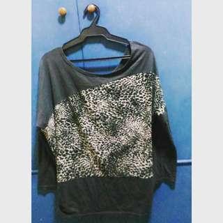 Animal print + gray batwing-sleeved top