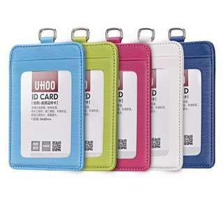(BEST SELLER) UHOO PU Leatherette ID Card Holder with Lanyard