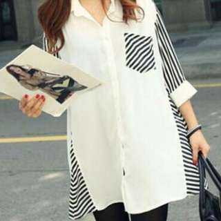 Brand New-White Striped Blouse