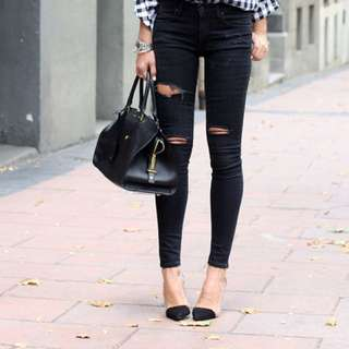 Zara - Ripped Jeans Dark Wash