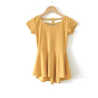 Mustard Yellow Peplum Top / Atasan Kuning