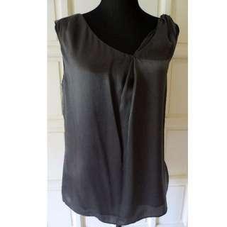 BANANA REPUBLIC Pewter Gray Silk Top