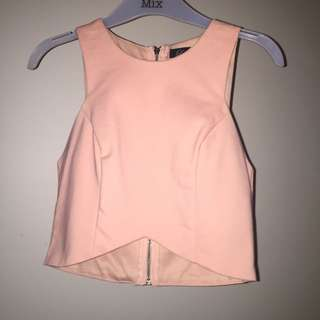 Peach Crop Top With Zip Back