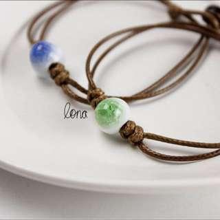 Cracked Glass Clay Bead Bracelet