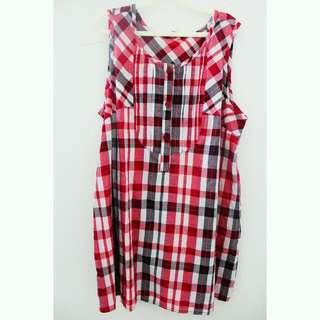 RED TARTAN SLEEVELESS DRESS