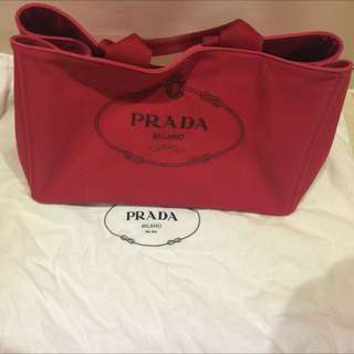 Prada帆布包(大)紅色
