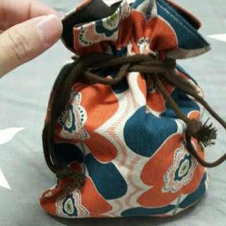 日本布料綠色花花 帆布袋/束口袋