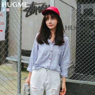 好好看清新韓系格紋長袖棉麻透膚襯衫上衣,粉色 藍色【M44H09U1808】