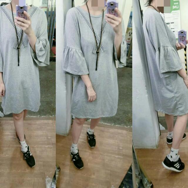 韓製-立體織帶荷葉袖棉長洋裝