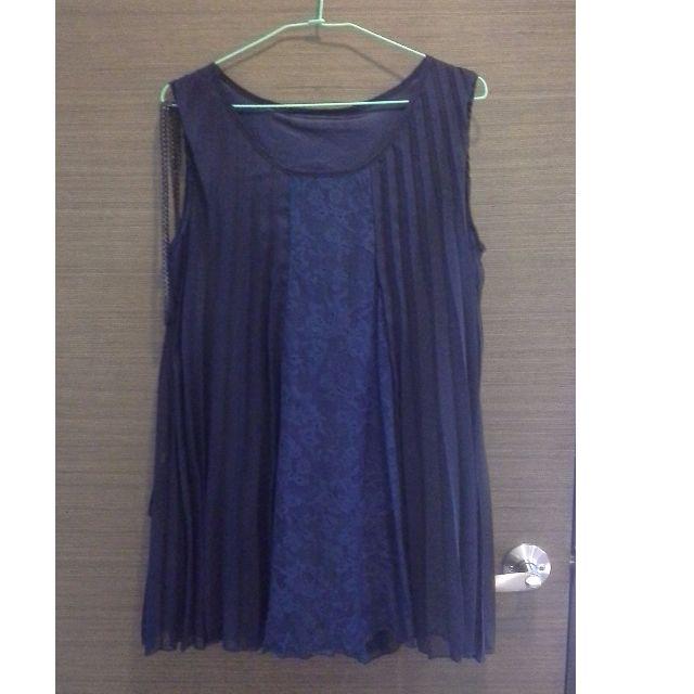 深藍百褶蕾絲背心洋裝(附黑色腰繩)