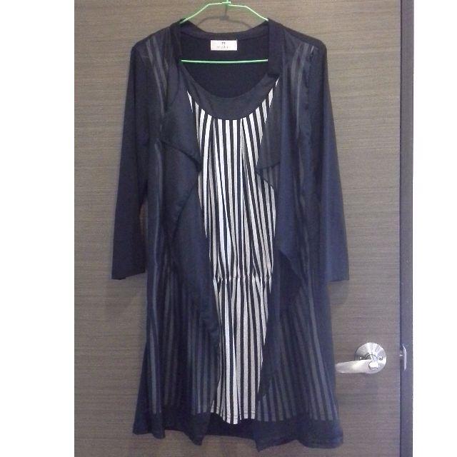 黑白假兩件式直條紋七分袖洋裝