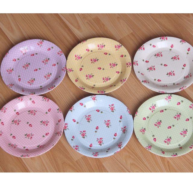 碎花紙盤 英式下午茶點心盤 歐式婚禮派對野餐Candy bar 餐具免洗盤
