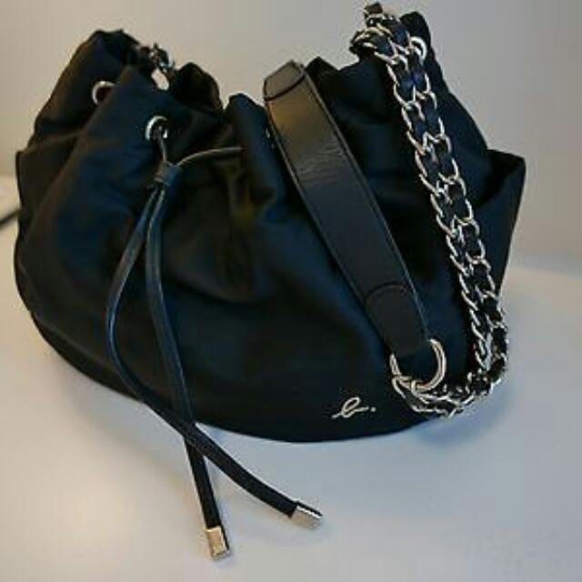 972c537f83 Agnes B Voyage Nylon Chain Strap Drawstring Bag In Black