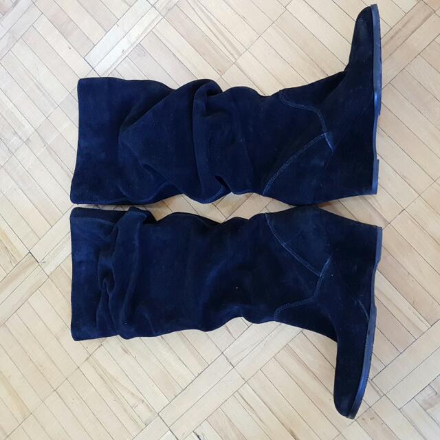 Aldo Black Seude Knee High Boots